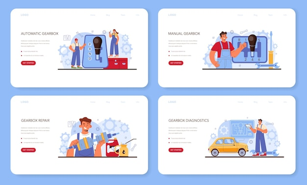 Autoreparatur-service-web-banner oder landing-page-set. automobil