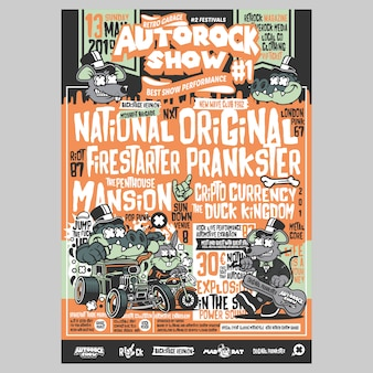Autorock show festival flyer