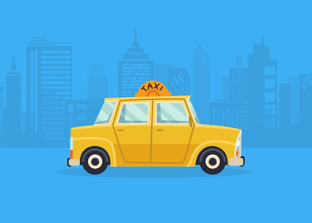 Autos auf dem stadtpanorama. taxi-service. gelbes taxi. taxianwendung, stadtsilhouette mit wolkenkratzern und türmen.
