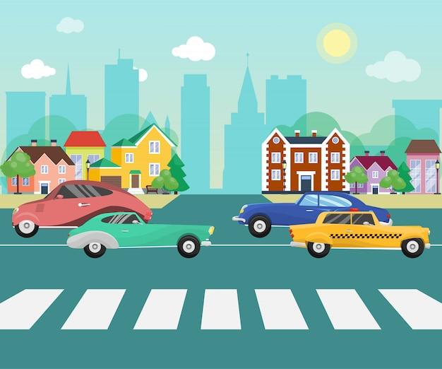 Autos auf den straßenstraßen des vororts auf großstadt mit wolkenkratzern. stadtbild mit autos und anderen fahrzeugen vector illustration. retro fahrzeuge auf der kleinen stadtstraße.