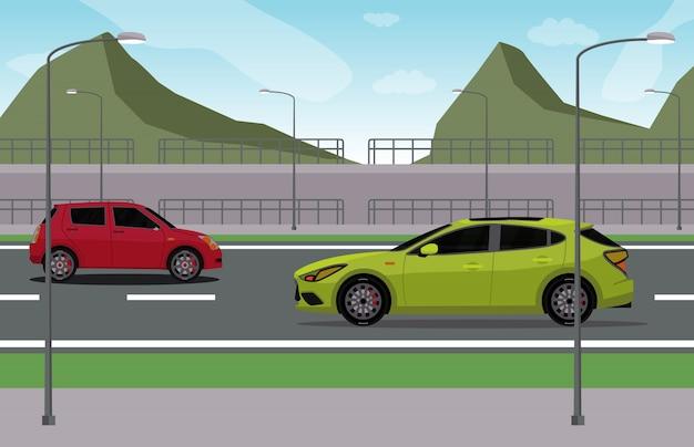 Autos auf der straße mit naturszene