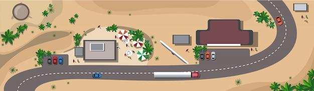 Autos auf straßenverkehrskonzept-spitzenwinkelsicht