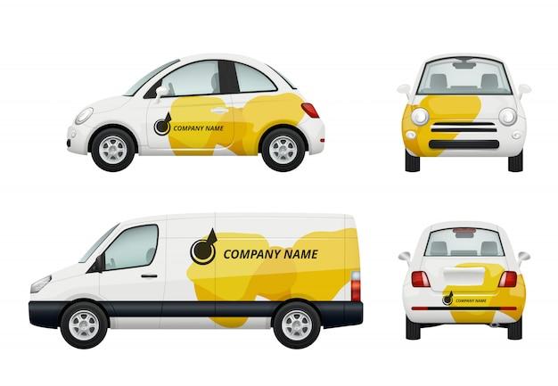 Autos branding. realistische darstellungen der werbung auf autos