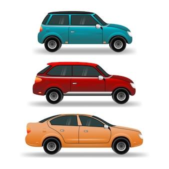 Autos gesetzt. stadt-, stadtautos und fahrzeugtransportikonen.