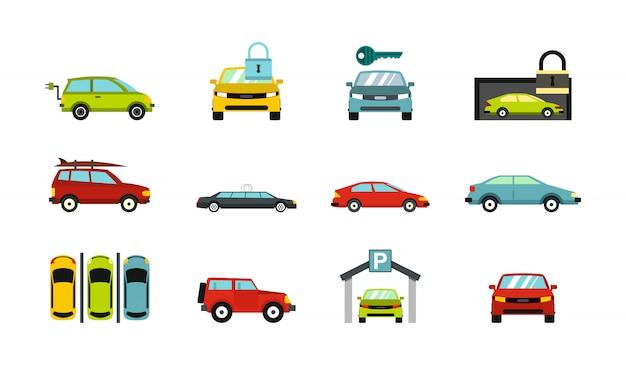 Autos-icon-set. flacher satz der autovektor-ikonensammlung lokalisiert