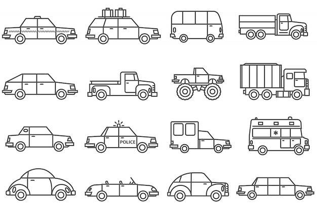Autos linie icons set