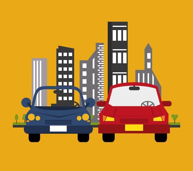 Autos mit stadt hintergrund transport bild