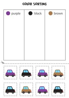 Autos nach farben sortieren. farben lernen für kinder.