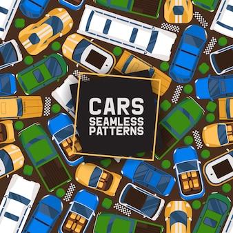 Autos nahtlose muster. auto, transport, transport, transfer. öffentlicher dienst. luxus-, sport-, cabriolet-, limousinen-stretchwagen.
