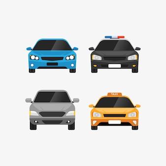 Autos setzen vorderansicht persönliche und öffentliche verkehrsillustration