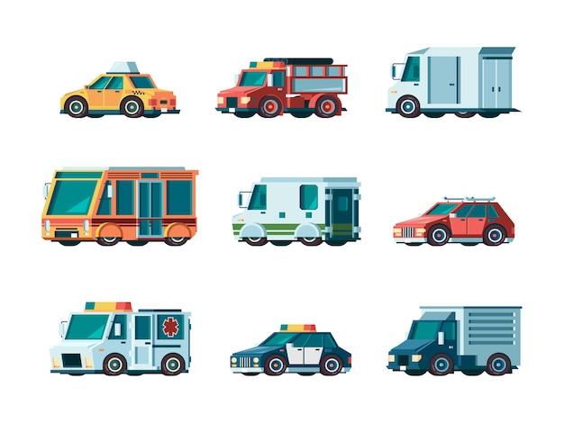 Autos. stadtverkehr kommunale fahrzeug feuerwehr krankenwagen polizei post taxi lkw bus und sammlerauto orthogonale bilder