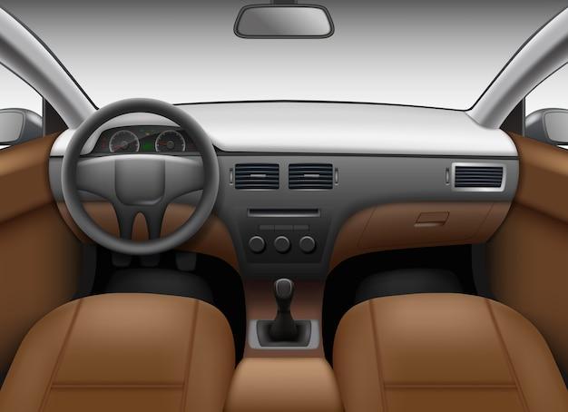 Autosalon. auto innenschablone mit ledersitzen und rad farbigen armaturenbrett spiegel vektor realistisches bild. illustration innenauto, auto panel armaturenbrett