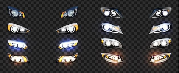 Autoscheinwerfer mit leuchtendem lichteffekt set
