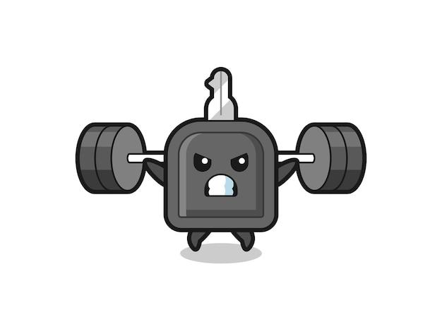 Autoschlüssel-maskottchen-cartoon mit einer langhantel, süßes design für t-shirt, aufkleber, logo-element