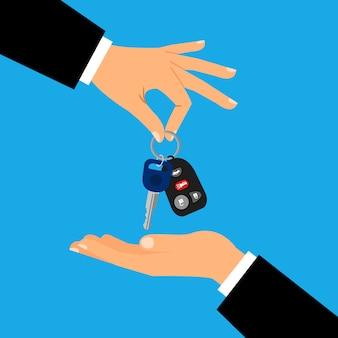 Autoschlüssel mit den mannhänden flach