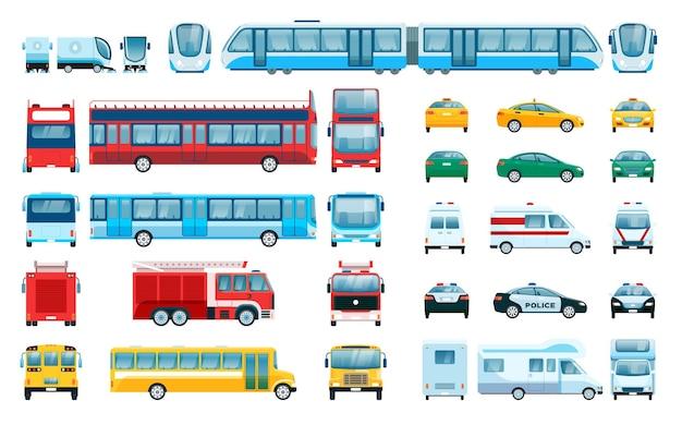 Autoseite vorderansicht städtische fahrzeuge personenkraftwagen taxi polizeiwagen zug vektorset