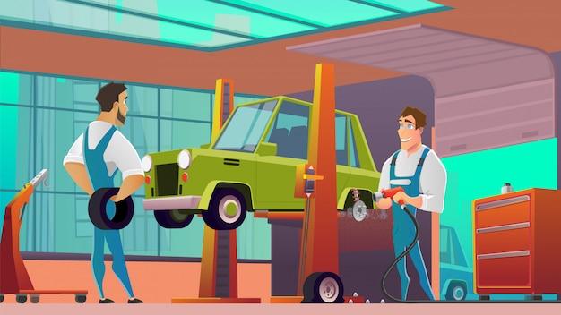 Autoservice-arbeitskräfte an der werkstatt-karikatur