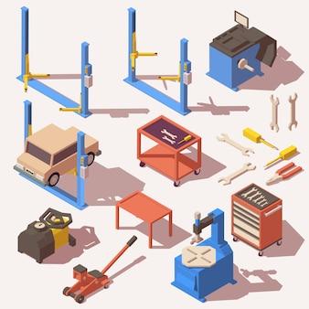 Autoservice-ausrüstung und werkzeugikonen eingestellt