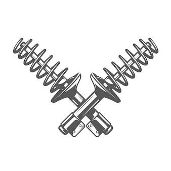Autoservice design. stoßdämpfer isoliert auf weißem hintergrund.