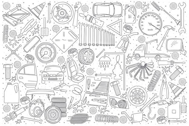 Autoservice-detailgekritzel