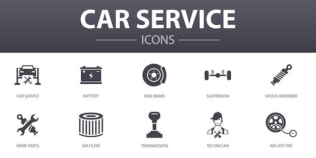 Autoservice einfaches konzept icons set. enthält symbole wie scheibenbremse, federung, ersatzteile, getriebe und mehr, kann für web, logo, ui/ux verwendet werden