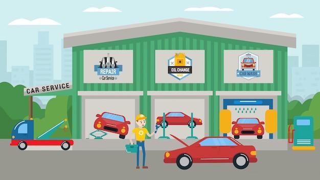 Autoservice-gebäudeillustration. autowäsche, reparatur, ölwechsel, abschleppwagen. technikermannarbeitskraft des services nahes auto mit schlüssel und werkzeugkasten stehend.