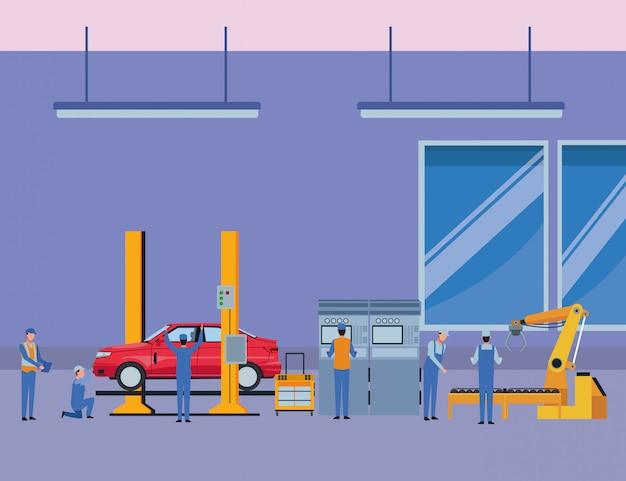 Autoservice herstellung cartoon