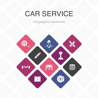 Autoservice infografik 10 option farbdesign. scheibenbremse, federung, ersatzteile, übertragung einfache symbole