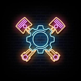Autoservice leuchtreklamen vektor designvorlage leuchtreklame