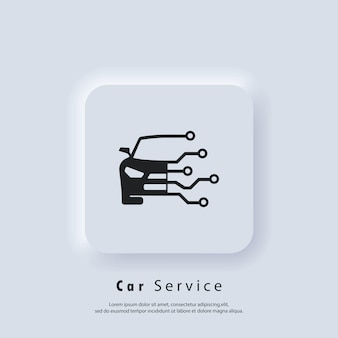 Autoservice-logo. diagnose-auto-tech-symbol-logo. diagnoseautosymbole. vektor. ui-symbol. neumorphic ui ux weiße benutzeroberfläche web-schaltfläche. neumorphismus