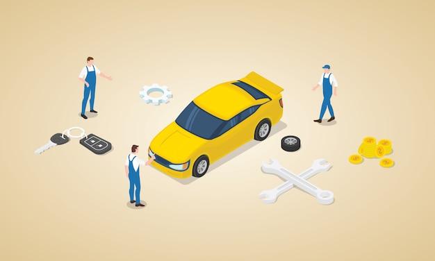 Autoservice mit teamingenieur-technikermechaniker mit auto und geld als wartungsservice mit isometrischer moderner flacher art