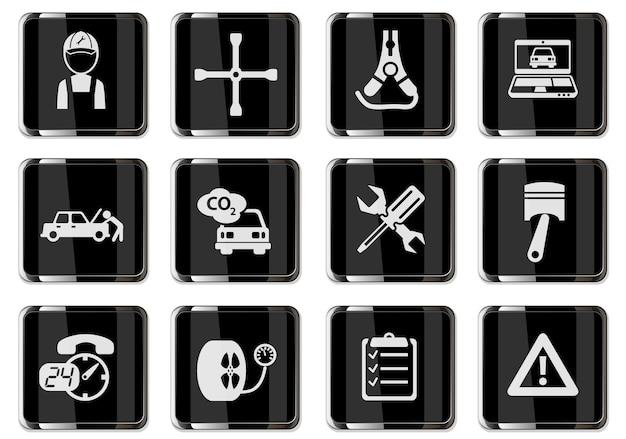 Autoservice-piktogramme in schwarzen chromknöpfen. symbolsatz für ihr design. vektorsymbole