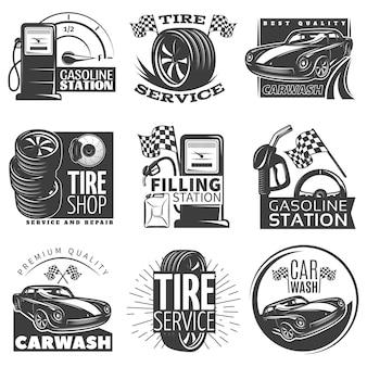 Autoservice schwarzes emblemsatz mit beschreibungen der reifenservice-autowasch-tankstellenvektorillustration