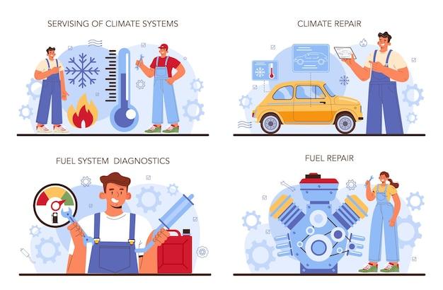 Autoservice-set-mechaniker in uniform überprüfen ein kraftstoff- und klimafahrzeug