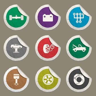Autoservice-symbole für websites und benutzeroberfläche