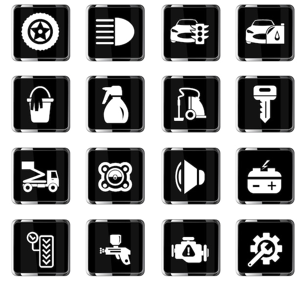 Autoshop-vektorsymbole für das design der benutzeroberfläche