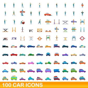 Autosymbole eingestellt. karikaturillustration von autoikonen eingestellt auf weißem hintergrund