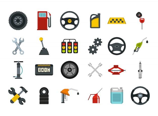Autoteile-icon-set. flacher satz der autoteilvektor-ikonensammlung lokalisiert