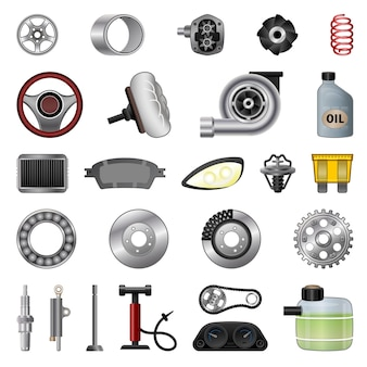 Autoteile-symbole gesetzt. karikatursatz autoteilevektorikonen für webdesign web