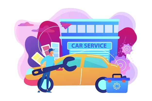 Autotuner mit schraubenschlüssel und werkzeugkasten für fahrzeugmodifikationen beim autoservice. autotuning, karosseriebau, fahrzeugmusik-upgrade-konzept. helle lebendige violette isolierte illustration