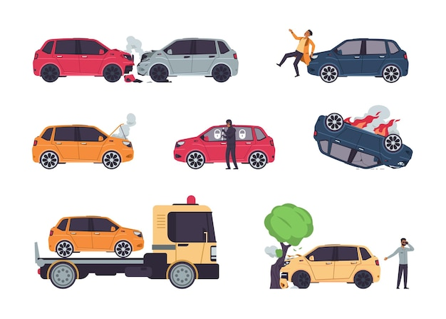 Autounfälle. versicherungsfälle, fahrzeugkollision und autounfall, diebstahlschutz, cartoon beschädigte autos und autoversicherungsrisiken. vektor-set illustrationen kaputtes fahrzeug