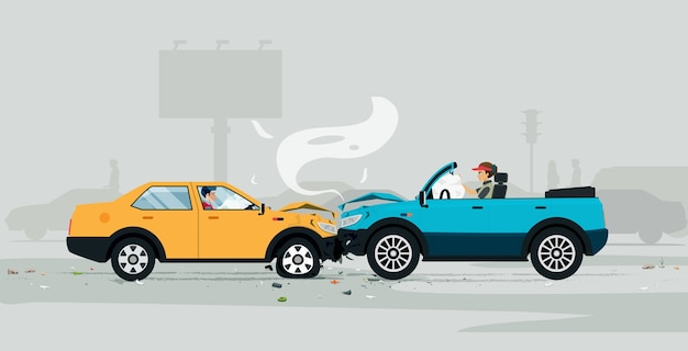 Autounfall auf der straße mit airbag hilft zu verhindern Premium Vektoren
