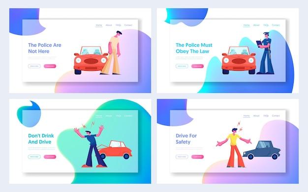 Autounfall auf der straße website landing page set, paar fahrer charaktere streiten am straßenrand bei abgestürzten autos. webseite für versicherungen, verkehr und pannen