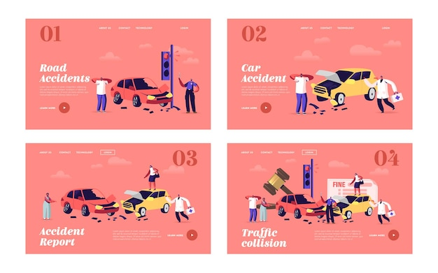 Autounfall landing page template set. fahrerfiguren stehen am straßenrand mit kaputten autos mit polizeibeamten, die geldstrafen schreiben und arzt, stadtverkehr. cartoon-menschen-vektor-illustration