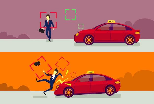 Autounfall-satz mit dem automobil, das fußgänger auf straße schlägt