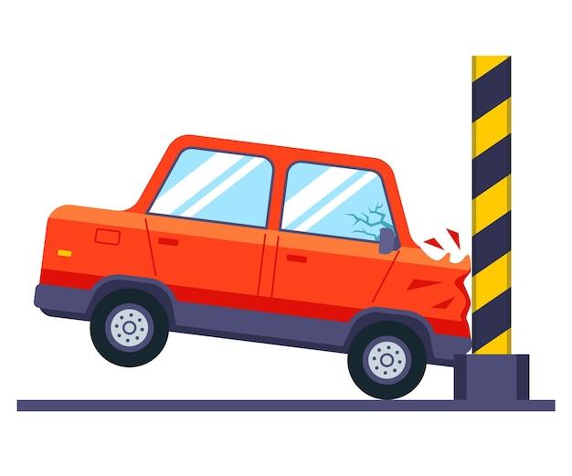 Autounfalltest. das fahrzeug schlägt gegen die wand.