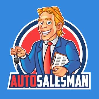 Autoverkäufer-maskottchen-logo, das autoschlüssel hält