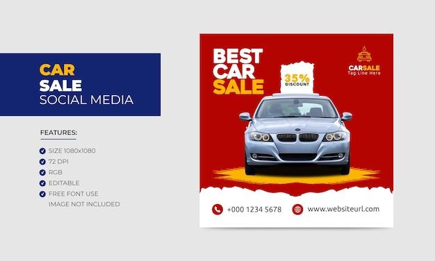 Autoverkaufsförderung social media facebook instagram post banner design-vorlage