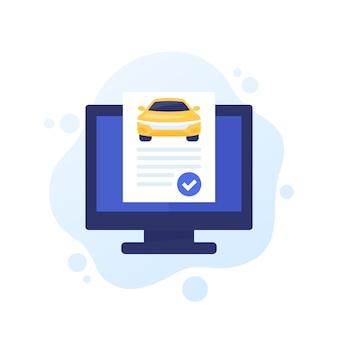 Autoverlaufsbericht, online-check, vektorsymbol