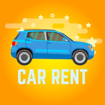 Autovermietung. blaues suv auf gelbem hintergrund